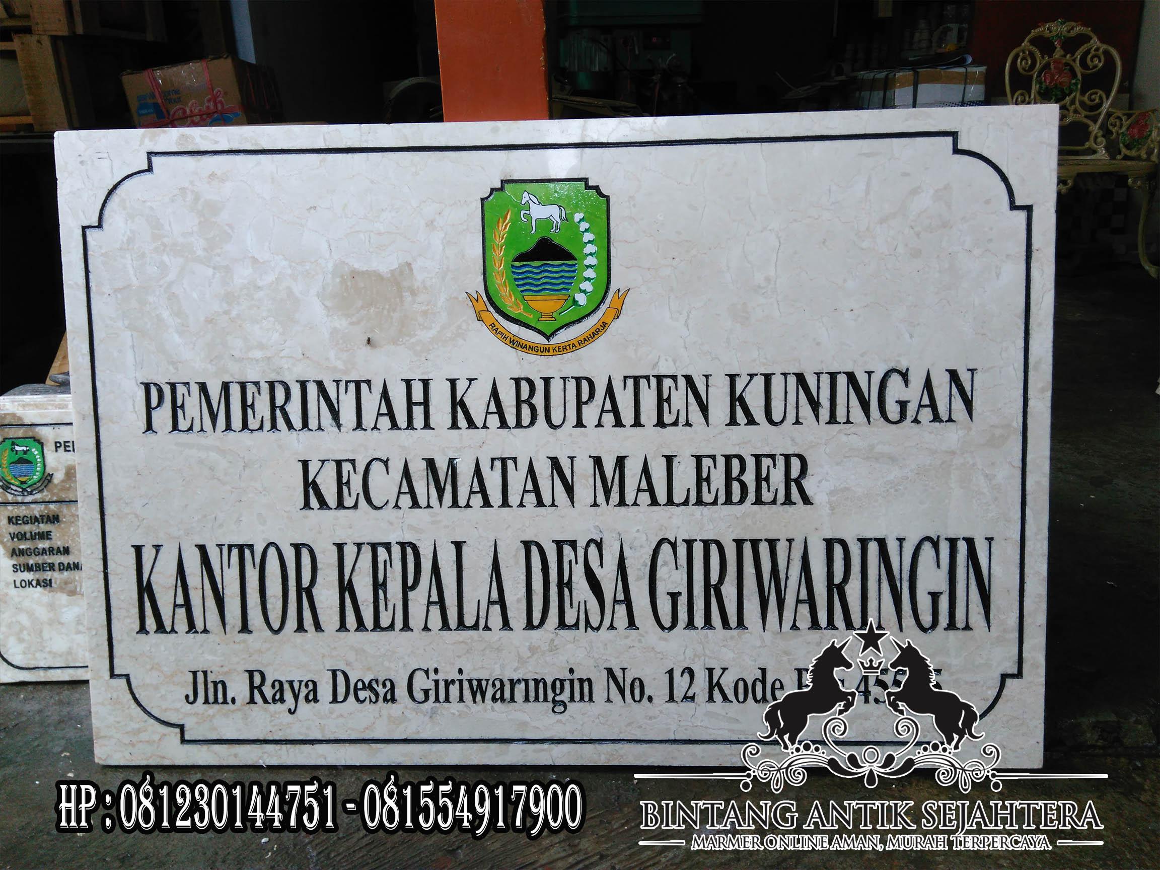 Prasasti Kantor Desa, Papan Nama Desa Marmer